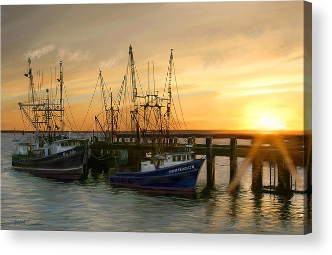 Boats Acrylic Print featuring the digital art Daybreak by Sue Brehant