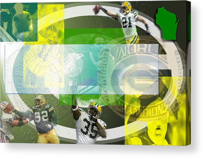 Green Bay Packers Acrylic Print featuring the digital art de Wine and Cheese by Jimi Bush