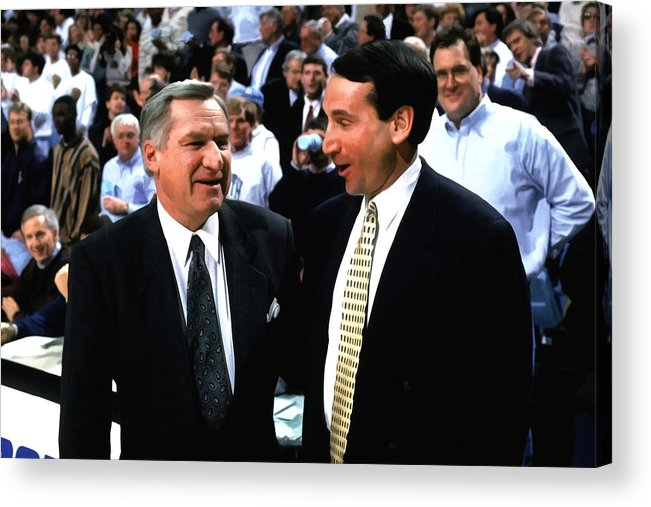 Mike Krzyzewski Acrylic Print featuring the digital art Dean Smith And Mike Krzyzewski by Brian Reaves