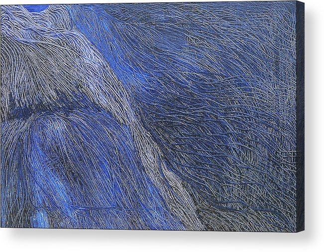 Abstract Acrylic Print featuring the painting Deep Blue by Prakash Bal Joshi
