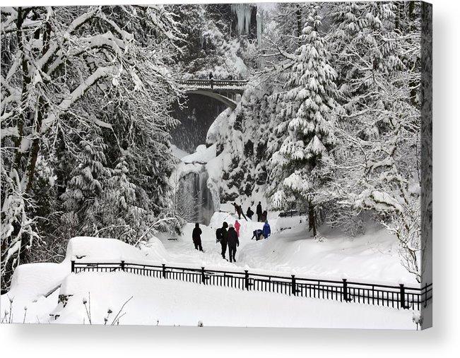 Deep Snow Multnomah Falls Acrylic Print featuring the photograph Deep Snow Multnomah Falls by Wes and Dotty Weber