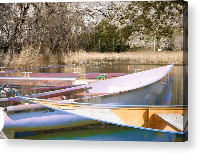 Boat Reflections Acrylic Print featuring the photograph Deux Canoes by Mary Mansey