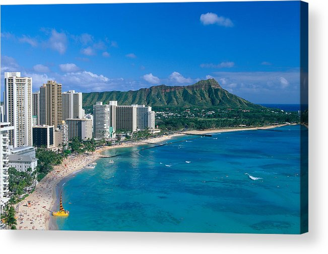 Aerial Acrylic Print featuring the photograph Diamond Head And Waikiki by William Waterfall - Printscapes