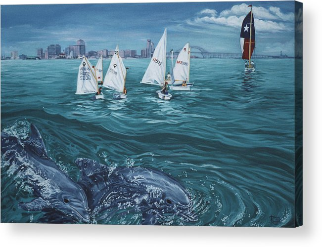 Dolphins Acrylic Print featuring the painting Dolphins In Corpus Christi Bay by Diann Baggett
