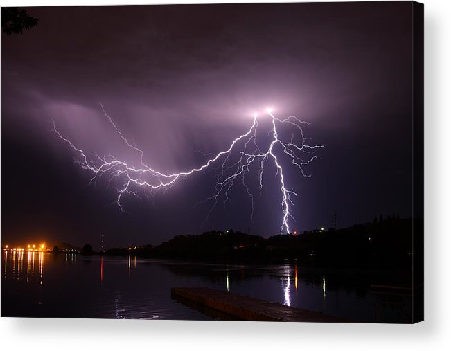 Lightning Acrylic Print featuring the photograph Double Strike by Hollie Adams