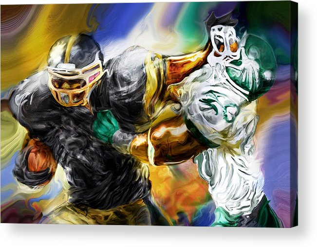 Football Acrylic Print featuring the painting Downtown Express by Mike Massengale