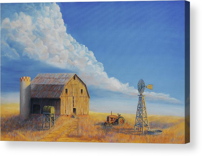 Barn Acrylic Print featuring the painting Downtown Wyoming by Jerry McElroy