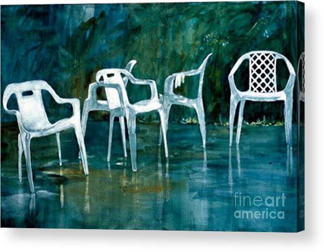 Lawn Chairs Acrylic Print featuring the painting Drip Dry by Elizabeth Carr