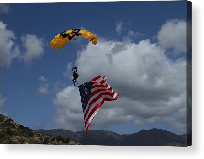 Parachute Acrylic Print featuring the photograph Dropping In by Nikki Sandoval