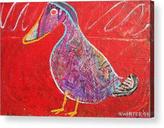 Duck Bird Red Acrylic Print featuring the mixed media Duck by Dave Kwinter