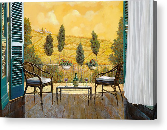 Terrace Acrylic Print featuring the painting due bicchieri di Chianti by Guido Borelli