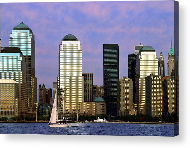 Architecture Acrylic Print featuring the photograph Dusk On Lower Manhattan by June Marie Sobrito