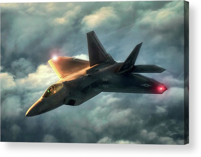 Aviation Acrylic Print featuring the digital art Dusk Raptor by Peter Chilelli