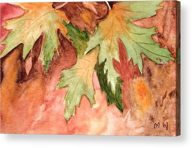 Autumn Fall Leaves Painting Green Gold Orange Yellow Red Watercolor Acrylic Print featuring the painting Early Autumn by Marsha Woods