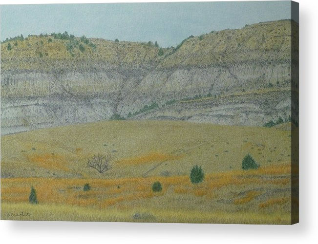 North Dakota Badlands Acrylic Print featuring the pastel Early May On The Western Edge by Cris Fulton