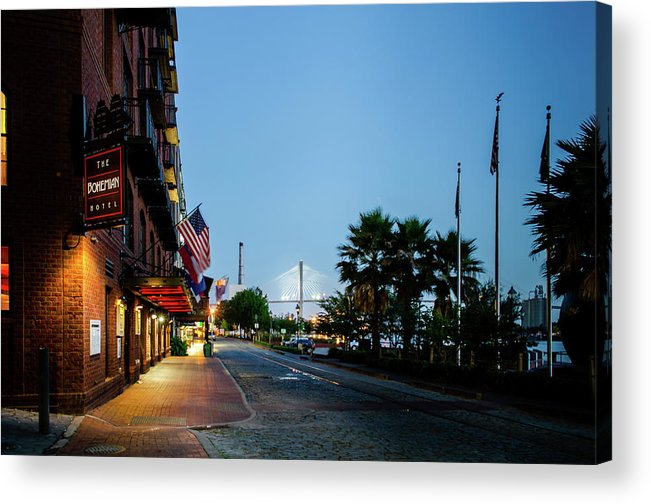 River Street Acrylic Print featuring the photograph Early Morning At The Bohemian Hotel by Greg Mimbs