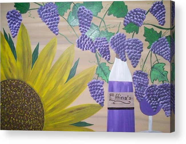 Sunflowers Acrylic Print featuring the painting Effinas In Tuscany by Paula Ferguson