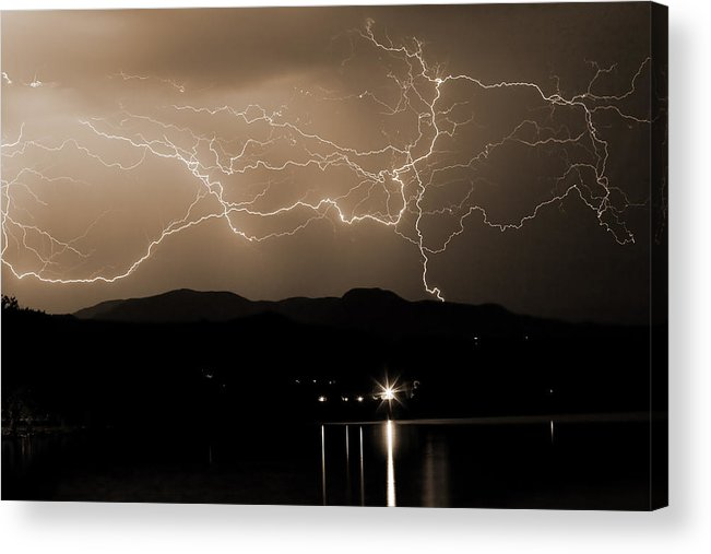 Lightning Acrylic Print featuring the photograph Electric Sepia Skies by James BO Insogna