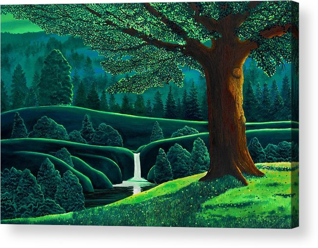 Trees. Waterfall Acrylic Print featuring the painting Emerald Valley by Mark Regni