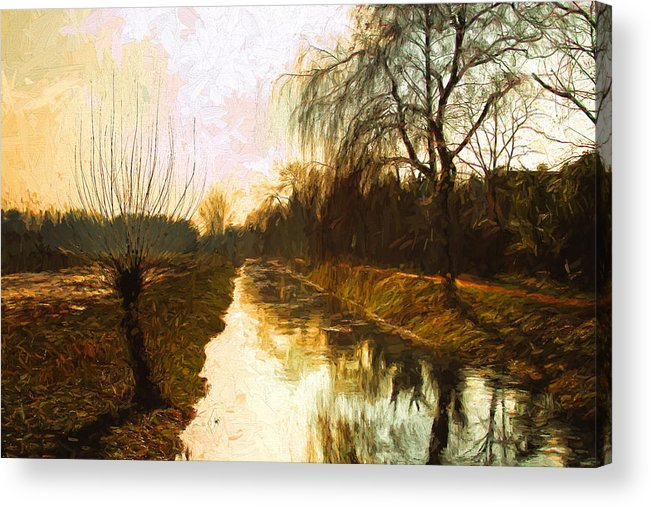Landscape Acrylic Print featuring the mixed media Evening Canal by Dale Witherow