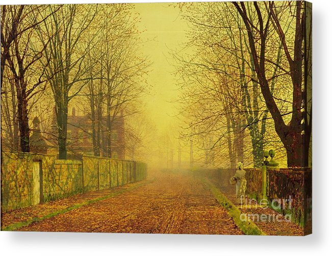The Fall Acrylic Print featuring the painting Evening Glow by John Atkinson Grimshaw