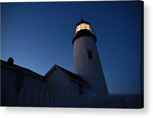 Lighthouse Acrylic Print featuring the photograph Evening Lighthouse Pemequid Point Me by Richard Danek