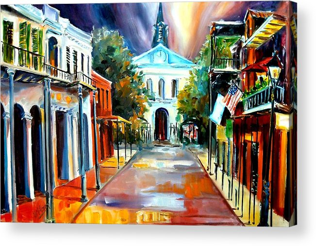 New Orleans Acrylic Print featuring the painting Evening On Orleans Street by Diane Millsap