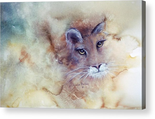 Cougar Face Acrylic Print featuring the painting Face With In by Lynne Parker