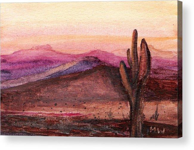 Desert Cactus Orange Pink Dusk Sunset Acrylic Print featuring the painting Faithful Old Sentinel by Marsha Woods