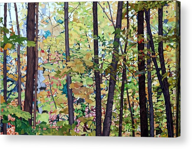 Landscape Acrylic Print featuring the painting Fall Colour Medley by Allan OMarra
