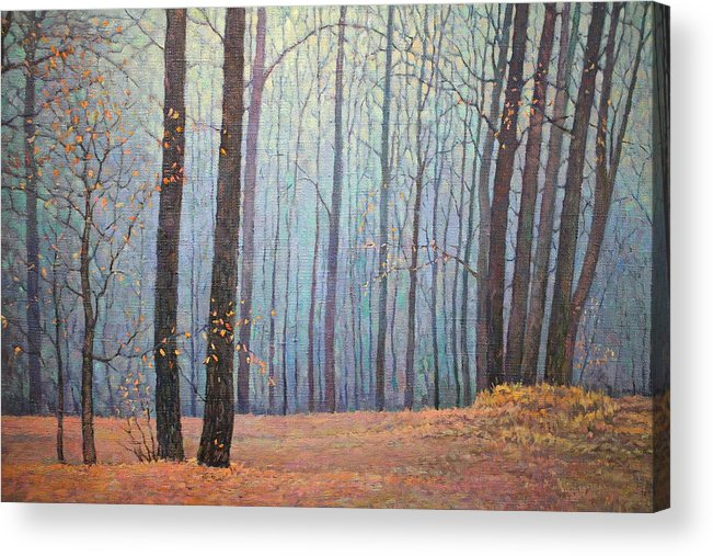 Autumn Acrylic Print featuring the painting Fall In Forest by Yuri Sapozhnikov