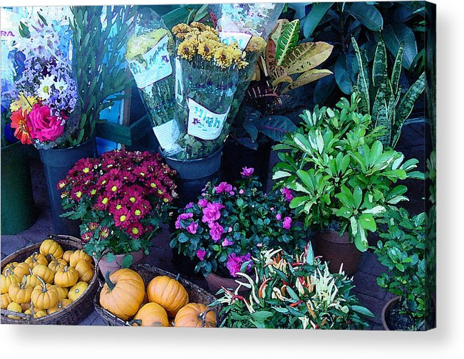 Fall Acrylic Print featuring the photograph Fall Market Scene In Watercolor by Suzanne Gaff