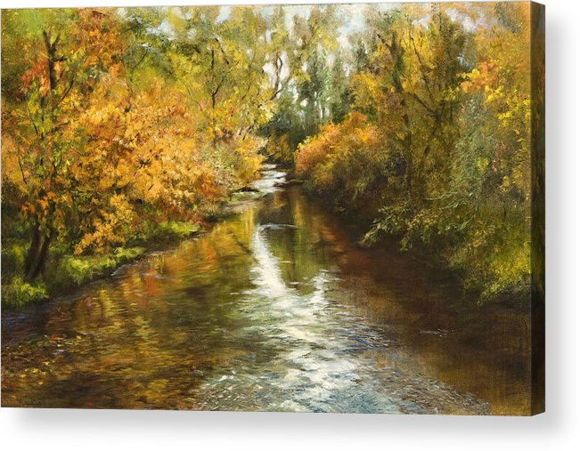 Fall Colors Acrylic Print featuring the painting Fall Reflections by Jan Hardenburger