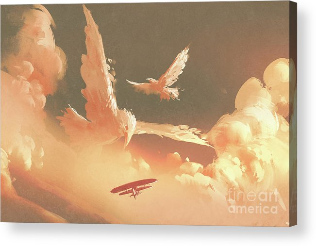 Art Acrylic Print featuring the painting Fantasy Sky by Tithi Luadthong