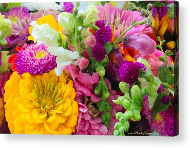 Flowers Acrylic Print featuring the photograph Farm Market Flowers by PhotohogDesigns