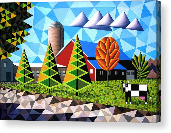 Farm Acrylic Print featuring the painting Farm With Three Pines And Cow by Bruce Bodden