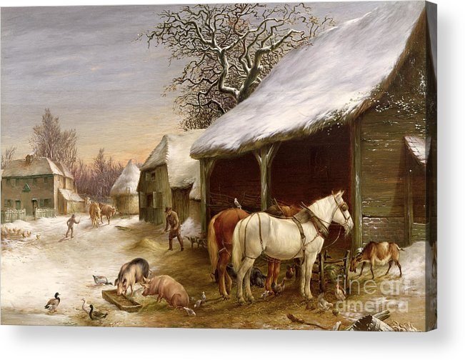 Gg14441 Acrylic Print featuring the painting Farmyard In Winter by Henry Woollett