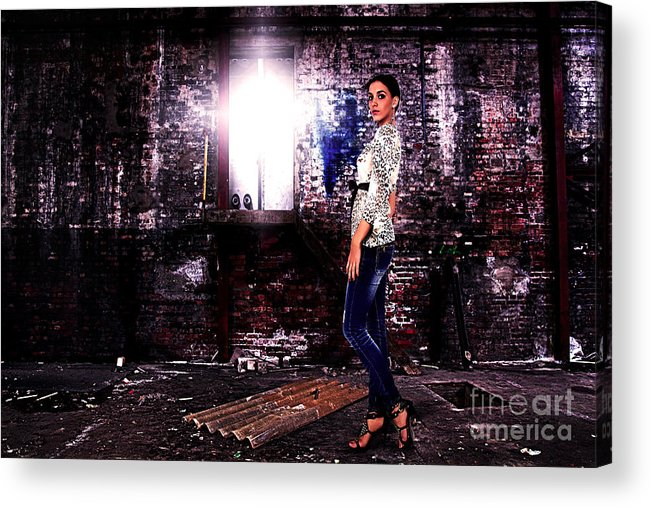 Grunge Acrylic Print featuring the photograph Fashion Model In Jeans by Milan Karadzic