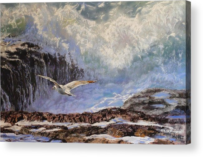 Bird Art/seascape Acrylic Print featuring the pastel Feather And Foam by Kimberly Wurster