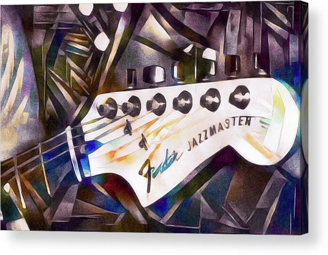 Jazzy Guitar Head Acrylic Print featuring the mixed media Fender Jazzmaster by Susan Maxwell Schmidt