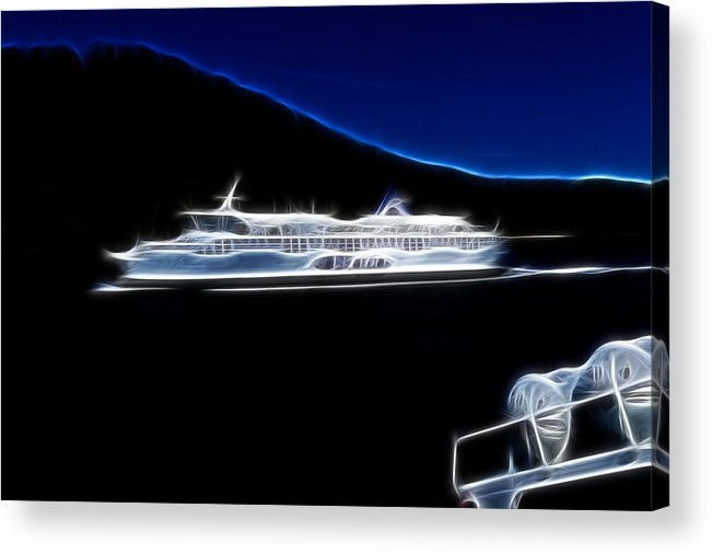 British Columbia Acrylic Print featuring the photograph Ferry In Active Pass by Lawrence Christopher