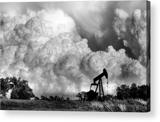 Oil Rig Acrylic Print featuring the photograph Field Of Nightmares by Karen Scovill