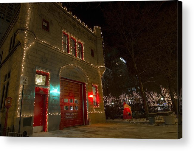 Firehouse Acrylic Print featuring the photograph Firehouse In Xmas Lights by Sven Brogren