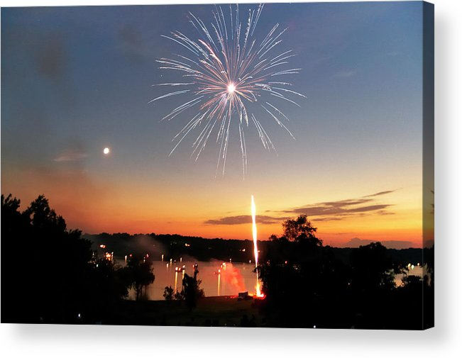 Fireworks Acrylic Print featuring the photograph Fireworks And Sunset by Amber Flowers