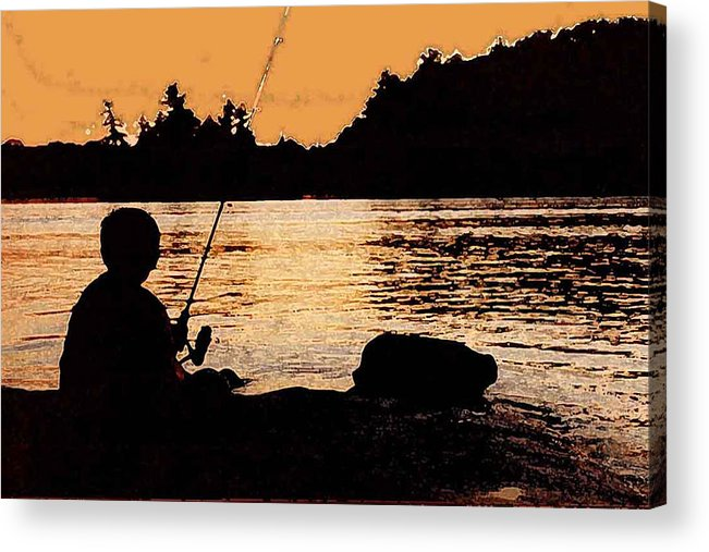 Landsape Acrylic Print featuring the photograph Fishing From A Rock Ae by Lyle Crump