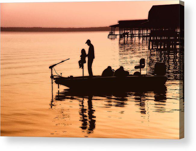 Fishing Acrylic Print featuring the photograph Fishing With Daddy by Bonnie Barry