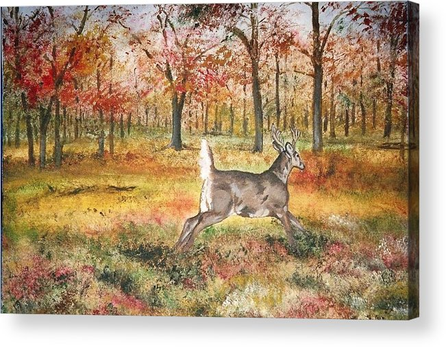 Fall Colors Acrylic Print featuring the painting Flag by Debra Sandstrom