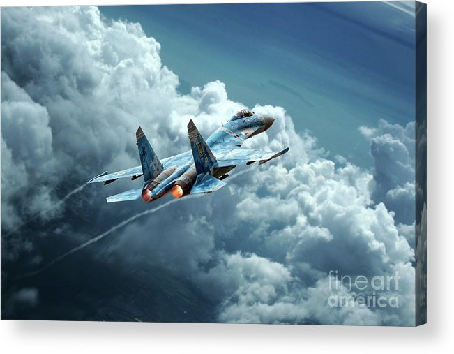 Sukhoi Su-27 Acrylic Print featuring the digital art Flanker Burner by J Biggadike