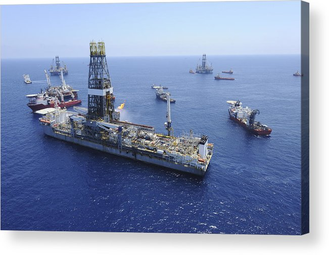 Drillship Acrylic Print featuring the photograph Flaring Operations Conducted by Stocktrek Images