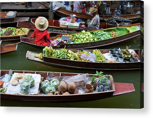Asian Acrylic Print featuring the photograph Floating Market by Jirawat Cheepsumol